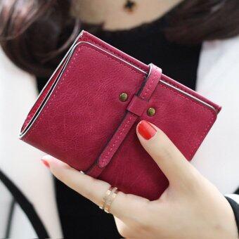 ลาวีมินิน่ารัก ๆ กระเป๋าสตางค์กระเป๋าถือกระเป๋าคลัตช์สั้นที่เก็บบัตรประชาชน (กุหลาบแดง)