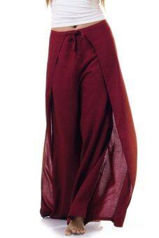 Princess of Asia กางเกงผ่าข้าง กางเกงแบบผูก กางเกงพัน (สีเลือดหมู)
