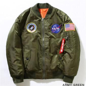2559 Hequ Freelee แจ็คเก็ตไนลอน Nasa บินอเมริกันคอลเลจมหาวิทยาลัยจดหมายระเบิดชายแจ็กเก็ตนักบินกองทัพสีเขียว