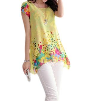 นิวแฟชั่นเสื้อชีฟองพิมพ์ลายผู้หญิงออกจากแขนเสื้อซ้อนกลีบกลวง (สีเหลือง)