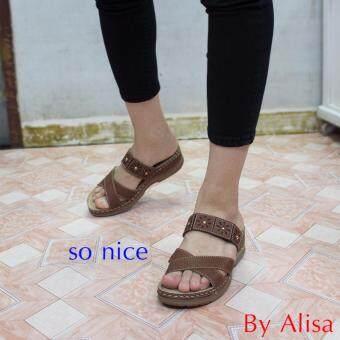 Alisa Shoes รองเท้าหนังเพื่อสุขภาพ รุ่น RC91757-002 Brown