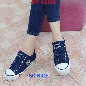 Alisa Shoes รองเท้าผ้าใบเสริมส้นผู้หญิง รุ่น 719 Navy
