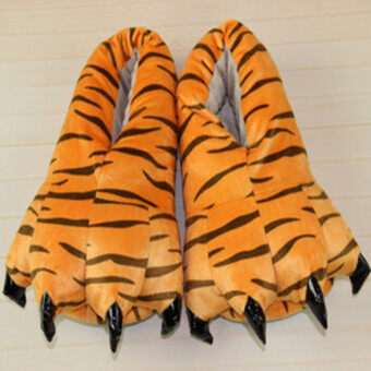 Harga 4ever 1 Pairs of Men Winter Warm Soft Home Slippers Animal Paw Claw Plush Shoes Christmas Gift (Tiger) - intl