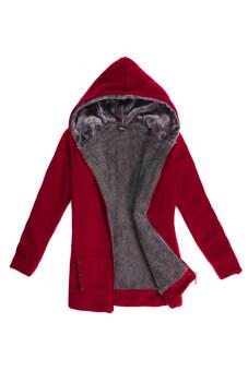 แฟชั่นหน้าหนาวสาว Toprank เสื้อนอกผ้าขนสัตว์ขนสัตว์อุ่นสบาย Hoodies นานเหงื่อเสื้อแจ็กเก็ตขนแกะ (สีแดง)