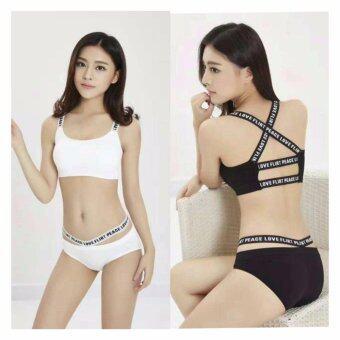 Miracle Bra เสื้อชั้นในสตรี ชุดชั้นในสตรี เซตบรา สาย PEACE LOVE FLIRT สายหลัง 2เส้น + กางเกงใน (สีขาว+สีดำ) - 2ชุด