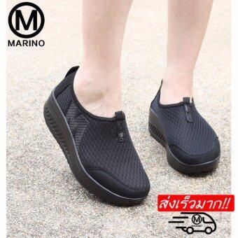 Marino รองเท้าผ้าใบสีดำ รองเท้าเพิ่มความสูงสำหรับผู้หญิง No.A010 - Black