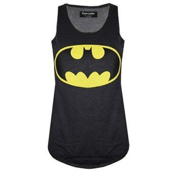Fancyqube Batman/Superman ฮีโร่เสื้อแฟชั่นเสื้อแขนกุดสตรีกีฬาสีดำ