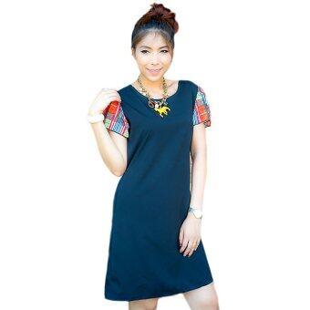 All about Fashionista เดรสสั้น ผ้าไหมอิตาลี ผูกหลัง แขนสั้นผ้าชีฟองลายตาราง สีดำ