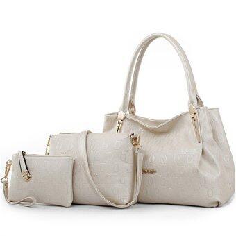Richcoco กระเป๋าแฟชั่นเกาหลี + กระเป๋าถือผู้หญิง + กระเป๋าสะพายข้าง + เซ็ต 3 ใบ (สีขาวมุก)