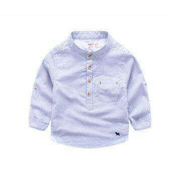 d2kids เสื้อเชิ๊ตเด็กชายคอจีน ผ้านิ่ม คุณภาพดี (สีฟ้า)