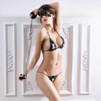 [BLACK] Sexy Halter Lace Low Waist 3 Points Panties with Handcuff Blinkers for Women - intl