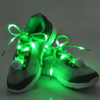 แสงไฟฉายเชือกไนลอนผูกเชือกรองเท้าผูกเชือกมาเส้นแสง Led สีเขียว