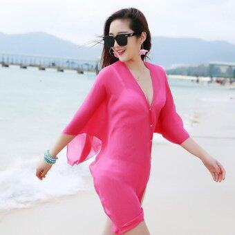 Harga Summer Women Fashion Candy Color Pure Color Variety Chiffon Beachwear Pearl Button Yarn Clothing Sun Clothes (Rose) - intl