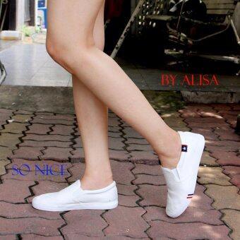 Alisa Shoes รองเท้าผ้าใบผู้หญิงแฟชั่น รุ่น LM 688 White