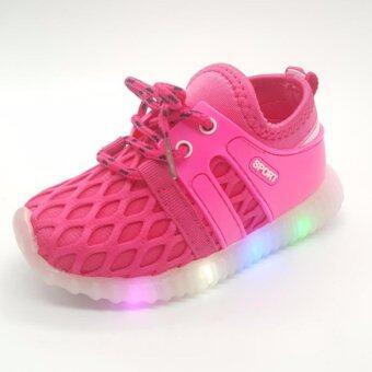 Alice Shoe รองเท้าเด็ก รองเท้าผ้าใบแฟชั่นแบบสวม ลายตาข่าย เด็กผู้หญิง&เด็กผู้ชาย รุ่นCVS059-P(สีชมพู)