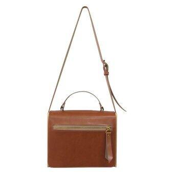 Omni กระเป๋าหนังทรงกล่อง - สีน้ำตาล