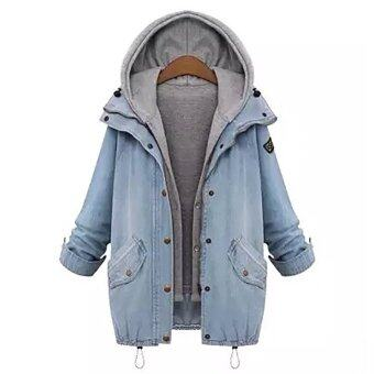 Harga Hequ Women and New Loose Hooded Female Denim Jacket Thin Cotton Denim Coat Jacket Two Piece LightBlue - intl