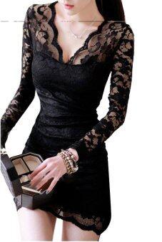 Linemart คอวีแขนเสื้อยาวมินิเดรสลูกไม้สีดำ