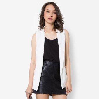 Veronica ขาว เสื้อเบลเซอร์ Sleeveless Welt Pockets