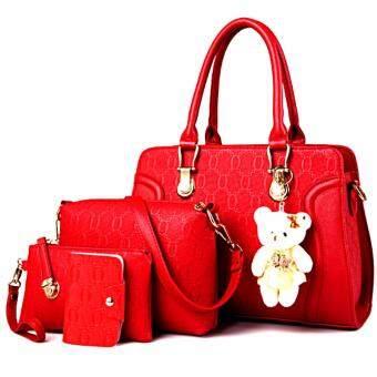 Bag กระเป๋าสะพายข้างสภาพสตรี เซ็ด 4 ใบ รุ่น new fashion 2017 (สีแดง)