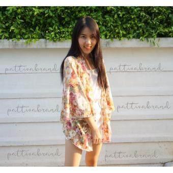 เสื้อคลุมสตรี ลายดอกไม้ สีส้ม
