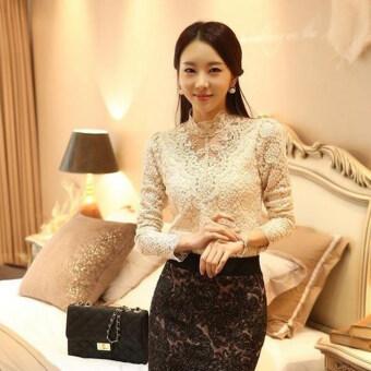 Sanwood แฟชั่นสไตล์เกาหลีสาวสวยสวมเสื้อเชิ้ตแขนยาวสีขาวฝังเพชรพลอยเทียม (สีเบจ)