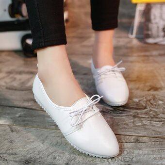 KPshop รองเท้าผ้าใบสีขาว รองเท้าผ้าใบผู้หญิง รองเท้าผ้าใบเกาหลี รุ่น S-010 (สีขาว)