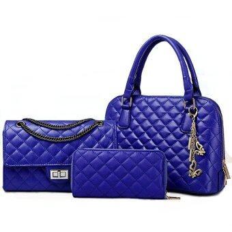 RichCoco (28) กระเป๋าแฟชั่นเกาหลี + กระเป๋าสตางค์ผู้หญิง + กระเป๋าสะพายไหล่ เซ็ต 3 ใบ (สีน้ำเงิน)