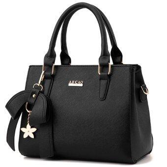 wiweeland กระเป๋าถือ กระเป๋าสะพายไหล่ กระเป๋าสะพายพาดลำตัว กระเป๋าแฟชั่น (สีดำ)