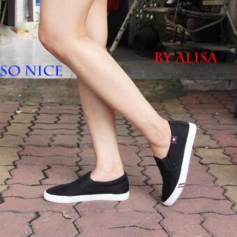 Alisa Shoes รองเท้าผ้าใบผู้หญิงแฟชั่น รุ่น LM 688 Black