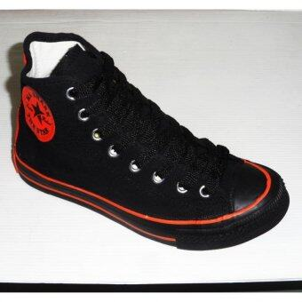 Mashare รองเท้าผ้าใบแฟชั้น มาแชร์หุ้มข้อ M-FIVE สีดำสาปส้ม