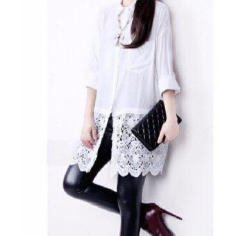 White shirt long-sleeved เสื้อเชิ้ตสีขาวยาว ตกแต่งลูกไม้