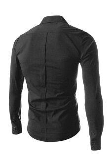 Reverieuomo CS36 เดี่ยวกระดุมเสื้อเชิ้ต (สีดำ)