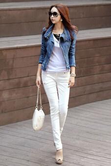 ไซเบอร์พังค์เสื้อยีนส์ของผู้หญิงมีซิปเสื้อตัวนอกเสื้อคลุมแจ็กเก็ตยีนบาง (สีน้ำเงิน)