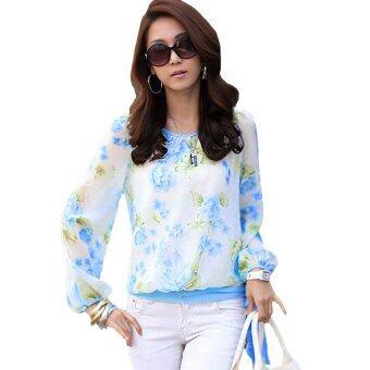 นิวแฟชั่นเสื้อชีฟองพิมพ์ลายผู้หญิงสวมเสื้อยาวแขนเสื้อลำลองเสื้อสีน้ำเงิน