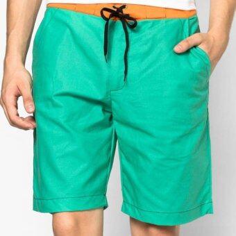 Play Hard กางเกงขาสั้น ลำลอง สีเขียวพาสเทล ขอบสีส้ม