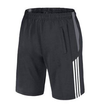 Harga Good Quality Breathable Soft Dry Fast Sports Basketball Men Shorts(Stripe Grey)
