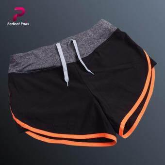 Perfect Pairs กางเกงขาสั้น ออกกำลังกาย สีดำแถบส้ม - มีซับในทั้งตัว ขอบเอวกระชับ มีเชือกผูก