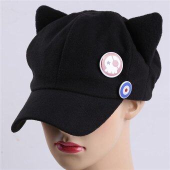 Harga LALANG Anime Cat Ear Cosplay Hat Warm Women Baseball Cap (Black) - intl
