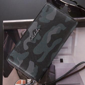 ASPIRE กระเป๋าสตางค์ผู้ชาย ใบยาว Premium (สีเขียวลายพราง)