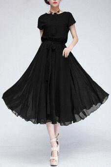2558ปีใหม่สบาย ๆ แขนเสื้อยาวชีฟองผู้หญิงแต่งตัวสั้น Batwing Vestidos กับเอว (สีดำ)