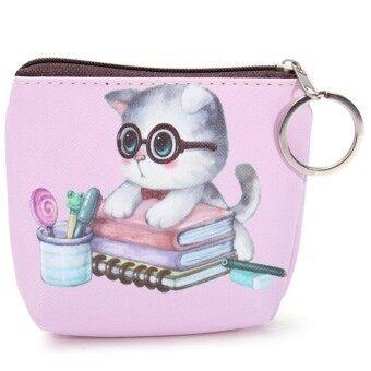 แมวน่ารักมีซิปหน้ากระเป๋าเงินเหรียญเคสมินิกระเป๋ากระเป๋ากระเป๋าสตางค์กุญแจการ์ตูน Color2