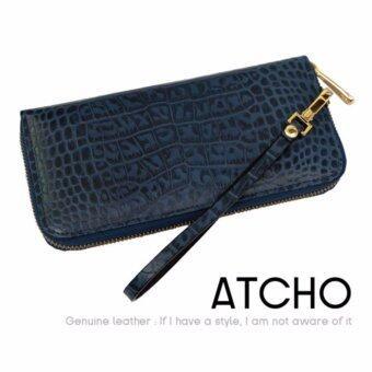ATCHO กระเป๋าสตางค์ผู้หญิง หนังวัวอัดลายจระเข้ แบบซิปรอบ สีกรมท่า