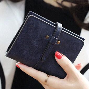 ลาวีมินิน่ารัก ๆ กระเป๋าสตางค์กระเป๋าถือกระเป๋าคลัตช์สั้นที่เก็บบัตรประชาชน (สีน้ำเงิน)