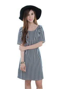 Mami Dress เดรสให้นม Modern และดูผอมเพรียวต้องตัวนี้ ขาวน้ำเงิน 44-LIBL