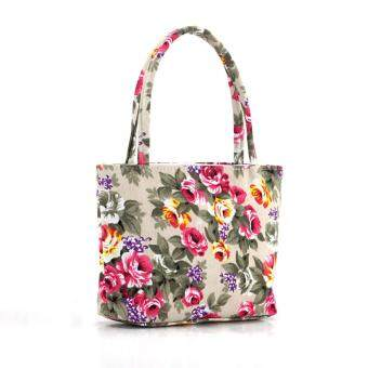 Harga Fashion Female Lovely Canvas Handbag Shoulder Beach Bag Printed Bags (Intl)