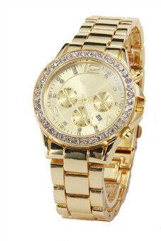 นาฬิกาข้อมือผู้หญิงวันที่ผลึกคริสตัลนาฬิกาหรูหญิงหญิงทอง