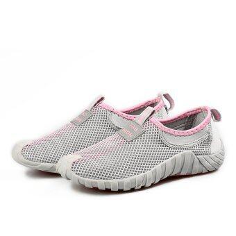 ผู้หญิงแฟชั่นกีฬารองเท้าผ้าใบหายใจเบาแบน (สีเทา & สีชมพู)