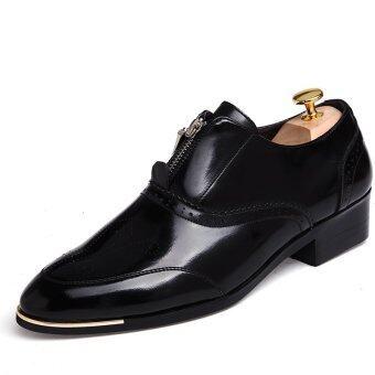 PINSV ธุรกิจรองเท้าหนังผู้ชายสุภาพ Loafers ซิปรองเท้า (สีดำ)