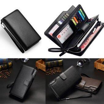 ชายยาวกระเป๋าสตางค์อเนกประสงค์ซิปบัตรเครดิตโทรศัพท์มือถือใส่กระเป๋า ยุโรปและสหรัฐอเมริกาผู้ชาย กระเป๋าถือสีดำ - intl